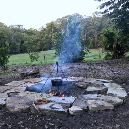 Cooking on the fire pit