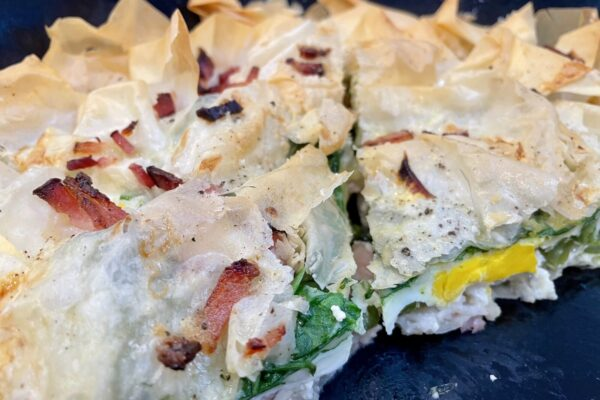 Egg & Bacon Pie with Spinach & Broccoli